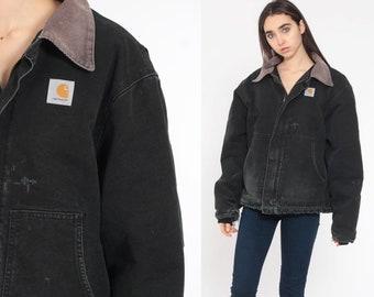 792a18283f Black Carhartt Jacket 90s Jacket Black CORDUROY COLLAR Grunge Workwear  DISTRESSED Vintage Retro Canvas Workwear Extra Large xl xxl 2xl