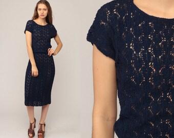 4730c42f397 Knit Dress 70s Midi Sweater Dress Boho SHEER Navy Blue 1970s Textured  Sheath Vintage Shift Cap Sleeve Bohemian Medium Large