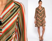 70s Mini Dress CHEVRON STRIPE Dress Mod Shift Dress Hippie Boho Dress Twiggy Vintage Bohemian 3/4 Sleeve Olive Green Medium