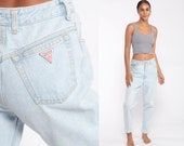 80s Guess Jeans Light Blue Mom Jeans High Waist 90s Denim Pants GEORGES MARCIANO Faded Tapered Leg 1980s Vintage Extra Small xs 28