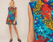 60s Mod Dress Mini Geometric Print ASIAN Dress Boho 70s Hippie Bohemian Shift Mandarin Collar Sleeveless Minidress Blue Extra Large xl