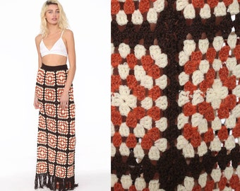 2ab87f339e4453 Long Crochet Skirt 70s Maxi Hippie High Waist Afghan Blanket OPEN WEAVE  Knit Boho Brown Psychedelic 1970s Bohemian Vintage Extra Small xs s