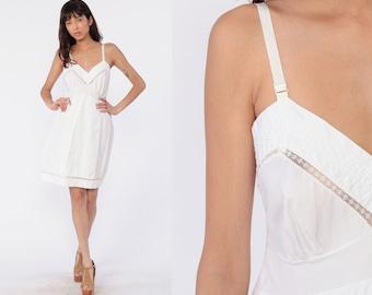 abf17fccd18ab White Cotton Slip Lingerie Slip Dress 80s Mini Full Slip Vintage Boho 70s  Deep V Neck Empire Waist Spaghetti Strap Medium 36 B