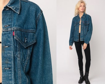 3cc6956f224 Levis Denim Jacket USA Trucker Jean Jacket 80s Denim Jacket Blue Levi Coat  1980s Vintage Retro Grunge Biker Hipster Extra Small xs