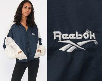 a0a742d4d64 Reebok Jacket 90s Windbreaker Jacket Shell Jacket Streetwear Warm Up Sports  Hipster Vintage 80s Color Block Blue White Sportswear Medium