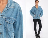 Levis Jean Jacket -- Levi Denim Trucker Jean Jacket 80s Denim Jacket Blue Levi Coat 1980s Vintage Retro Grunge Biker Hipster Small Medium