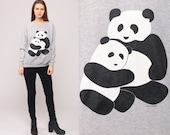 Panda Sweatshirt 80s Animal Print Jumper Bear Sweatshirt 1980s Graphic Sweater Vintage Kawaii Retro Raglan Sleeve Grey Medium