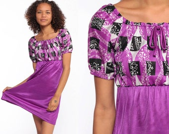 f3c67b21d84 Purple Babydoll Dress -- Boho Micro Mini Dress 70s Bohemian Psychedelic  1970s Peasant Hippie Empire Waist MiniDress Extra Small xs xxs