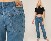 Blue Jeans Relaxed Jeans Straight Leg Jeans LEE Jeans 80s High Waisted Jeans Mom Denim Pants Vintage 90s Hipster Medium 10 30