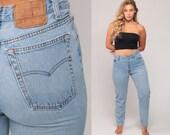 Levis Jeans Skinny High Waist Jeans 80s Mom Jeans Blue Levi Denim Pants Vintage BUTTON FLY Hipster Slim Faded Medium 10