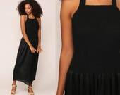 Black Nightgown Slip Dress 80s Maxi Boho Lingerie HALTER NECK Smocked Elastic Keyhole Goth Vintage Gothic Drop Waist Medium Large