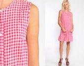 60s House Dress Red-Pink Gingham Dress Mod Mini Dress Shift Checkered Print 70s Vintage Sheath Day Mad Men Sleeveless Minidress small
