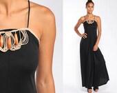 Grecian Dress 70s Maxi Party Dress Long Black Dress MACRAME Dress Hippie Boho 1970s Bohemian Drape Spaghetti Strap Retro Extra Small xs