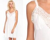White Slip Dress 70s LACE Sheer Lingerie Nightgown Mini Boho Deep V Neck Vintage Empire Waist Spaghetti Strap Bohemian Small