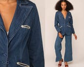 Denim Blazer Jacket 70s Jean Jacket Blue Western Boho Vintage Bohemian 1970s Button Up Hipster Women Coat Retro Collared Small