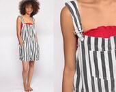Striped Overalls 90s Shorts Bib Shortalls Women Conductor Overalls Grunge 1990s Grey White Suspender Shorts Hipster Vintage Medium