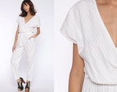 White Tapered Jumpsuit 80s Onesie Playsuit High Waisted Romper Playsuit Pants Cotton Wrap 1980s Vintage Pantsuit V Neck Short Sleeve Small