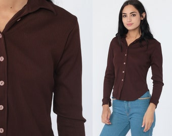 c0a1b1101fe32 Y2K Blouse Brown Button Up Shirt 90s Forever 21 Long Sleeve Vintage Fitted  Plain Collared Hipster 1990s Grunge Small