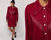Mod Mini Dress 70s Shift Button Up Shirtdress Striped Chevron 1970s Long Sleeve Vintage Twiggy Shirt Dress Burgundy Red Medium Large