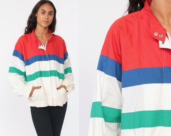 c0b7eb04 Striped Windbreaker Jacket COLOR BLOCK Zip Up Coat White 90s Jacket Red  Blue Stripes Vintage 80s Zip Up Jacket 1980s Medium Large