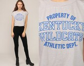 Kentucky Wildcats Shirt 80s Crop Top College Tshirt Kentucky University Sports Athletic Vintage T Shirt Graphic Tee Retro Large