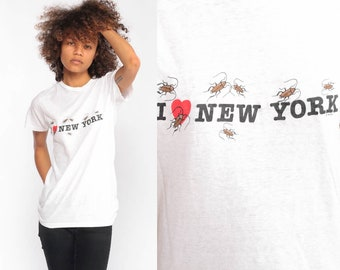 7fd74398441234 New York Shirt I Heart NYC Shirt COCKROACH Retro TShirt New York City  Vintage Burnout t Shirt 90s Travel Graphic Tee Extra Small xs