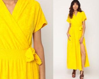 da2ed77f0b Terry Cloth Dress WRAP Dress Yellow V Neck 70s Maxi Lounge Dress High  Waisted 1970s Vintage High Slit Short Sleeve Summer Medium Large