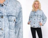 80s Denim Jacket ACID WASH Jean Jacket Vintage Grunge Jacket Trucker Button Up Light Blue 90s Hipster Oversize Medium