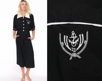 f8b59a5e749 Wide Leg Jumpsuit Black ANCHOR Print 80s CROPPED Capri Boho Baggy Palazzo  Pantsuit Nautical Sailor Vintage Romper Pants 90s Extra Small xs