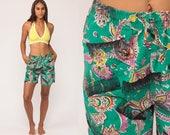 Paisley Shorts 80s High Waisted Shorts Tropical Cotton Hippie Boho Retro Hipster 1980s Vintage Green Black Medium