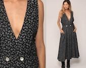 Jumper Dress 90s Grunge Pinafore Maxi Floral Print PLUNGING Neckline Bohemian Smock Deep V Boho Vintage High Waisted Medium