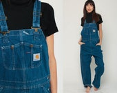 Carhartt Overalls Bib Jean Overalls Denim Pants Dungarees GRUNGE Suspender Blue Pants Baggy Long Vintage Coveralls Medium Large