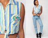 Cropped Blouse LOONEY TUNES Shirt Bugs Bunny 90s Grunge Tank Top Heart Crop Top 80s Sleeveless Button Up Shirt Blue Striped Vintage Medium