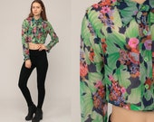 Boho Crop Top Floral Blouse 70s Button Up Shirt SHEER Bohemian 1970s Vintage Boho Hippie Romantic Green Long Sleeve Small Medium
