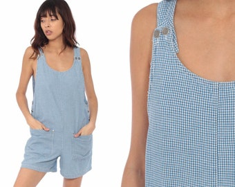 ff7847bcc5f Gingham Short Overalls 90s Grunge Romper Woman Vintage Checkered Print  Romper Playsuit Blue White 1990s Normcore Small