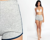 80s Shorts Jogging Shorts Running High Waisted Grey Retro Striped Vintage 70s Joggers Elastic Waist Hipster Extra Small 2xs xxs