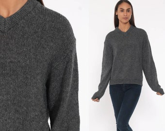 95714620f616 Lambswool Sweater 80s Grey Wool Sweater V Neck Sweater Slouchy 1980s Plain  Knit Sweater Jumper Vintage Retro Small Medium