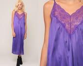 Purple Nightgown Lingerie Slip Dress 70s Babydoll Midi Lace Nightie Tent Trapeze Nylon Boho 1970s Vintage Extra Large xl 2xl