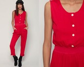 80s Jumpsuit Red Onesie Playsuit Tapered Pant Button Up GLORIA VANDERBILT High Waisted 1980s Vintage Pantsuit Sleeveless Small