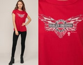 Harley Davidson Shirt 80s Biker Tee Red Muscle Tee Harley Tshirt Motorcycle T Shirt Hipster Retro Large