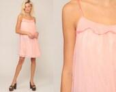 Pink Nightgown Lingerie Slip Dress 70s Babydoll Mini Sheer Pastel Pink Nightie Tent Trapeze Filmy Chiffon Nylon Boho 1970s Vintage Small