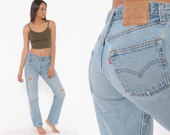 7f5a554af8 Ripped Levis 501 Jeans 29 -- Distressed Boyfriend Jeans USA Straight Leg  Jeans 90s Mom Jeans Denim Pants High Waist 80s Small 29 x 30