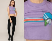 Cropped Shirt Sailboat Crop Top Tropical Shirt 80s Vintage Hipster Retro Tee Graphic Sail Boat Muscle Tee Extra Small xs