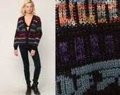80s Sweater Striped Cardigan Sweater Knit Black Purple Grandpa Cardigan Boho Button Up 1980s Preppy Vintage Retro Medium Large