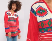 Bohemian Sweater 70s Boho BELL SLEEVE Sweater Red Tribal Sweater Knit Pullover Hipster 1970s Jumper Vintage Extra Small xs