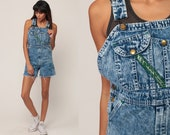 Jean OVERALL Shorts Denim Shorts CUT OFF Shortalls Cutoffs Acid Wash Overalls 90s Grunge Frayed Blue Woman 1990s Vintage Extra Small 2xs