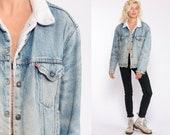 Levi Sherpa Jacket Denim Jacket Levis Shearling Jacket DISTRESSED Jean Jacket Trucker 80s Oversized Coat Fleece Blue Medium