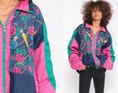 Floral Windbreaker Jacket PERFUME BOTTLES Print 90s Windbreaker Baroque Retro Blue Pink Hipster Vintage 1990s Retro Extra Large xl