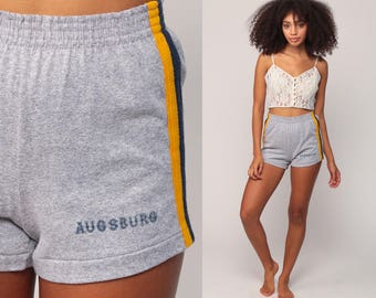 80s Shorts Jogging AUGSBURG Athletic Running High Waisted Grey Retro Striped Vintage 70s Joggers Hipster Extra Small Xs