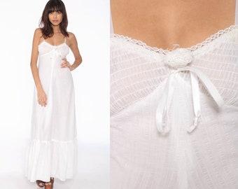 a87560b1a2 White Sun Dress Maxi Dress 70s Bohemian Jody T Empire Waist Bohemian  Sundress 1970s Boho Vintage Smocked Summer Semi-Sheer Extra Small xs